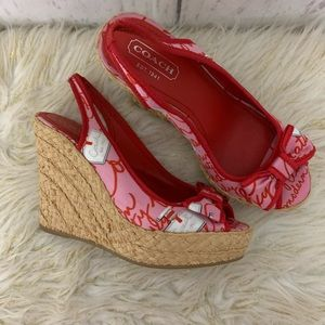 Coach Grace Slingback Platform Wedge Sandals 7
